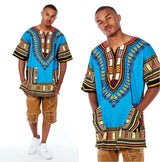 Light Blue Mens African Dashiki Shirt