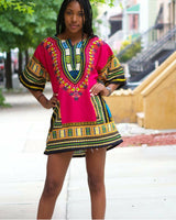 Pink Women African Dashiki Shirt