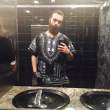 Men Black and White African Dashiki Shirt