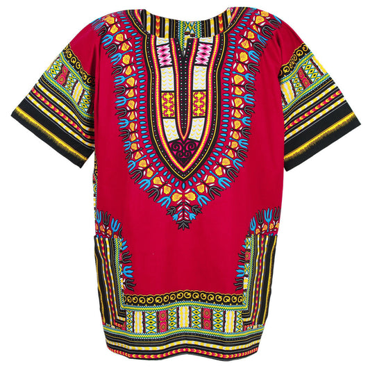 Burgundy Plus Size African Dashiki Shirt