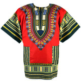 Red African Dashiki T Shirt Tops