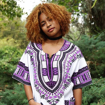 White and Purple African Dashiki Shirt
