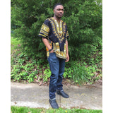 Black and Yellow Mens African Dashiki Shirt Tops