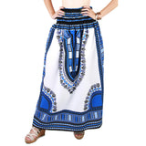 White and Blue African Dashiki Skirt