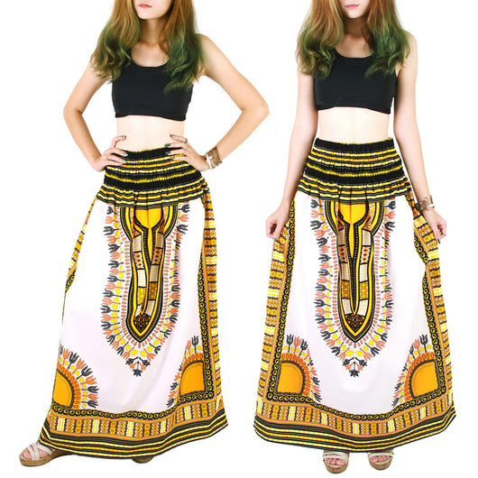 White and Yellow African Dashiki Skirt