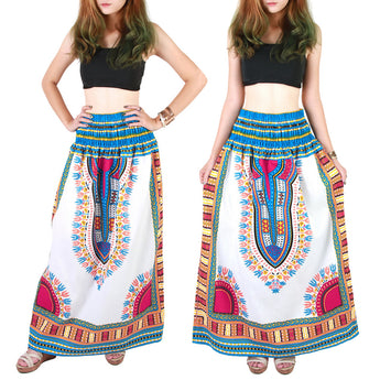 White and Light Blue Colorful African Dashiki Skirt