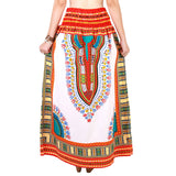 White and Red Colorful African Dashiki Skirt