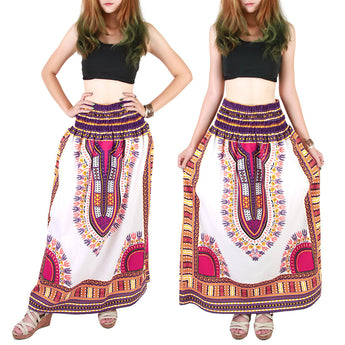 White and Purple Colorful African Dashiki Skirt