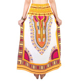 White and Yellow Colorful African Dashiki Skirt