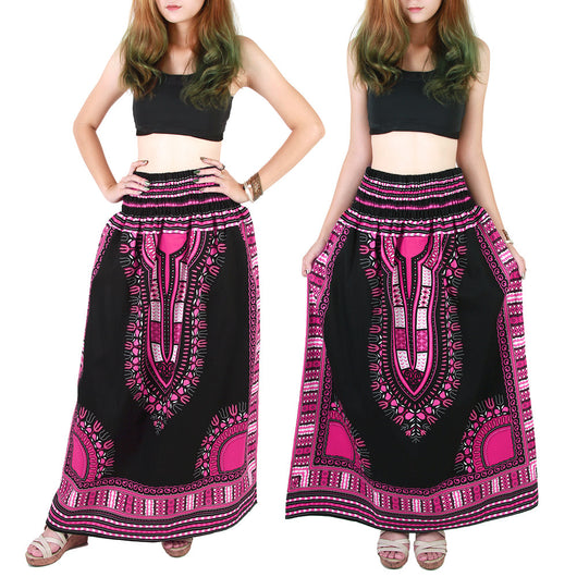 Black and Pink African Dashiki Skirt