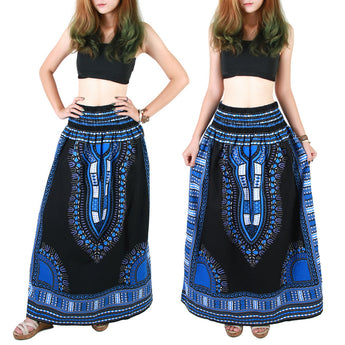 Black and Blue African Dashiki Skirt