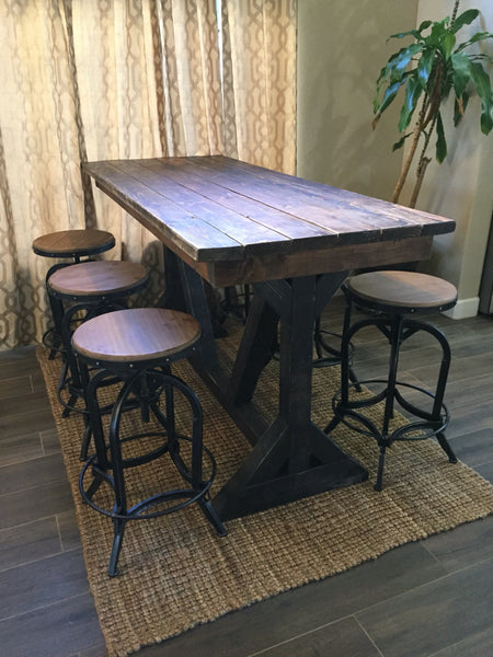 Rustic Pub Table with 6 adjustable height matching stools