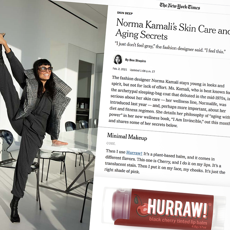 Hurraw! Lip Balms featured in The New York Times with Norma Kamali's skin care regime.