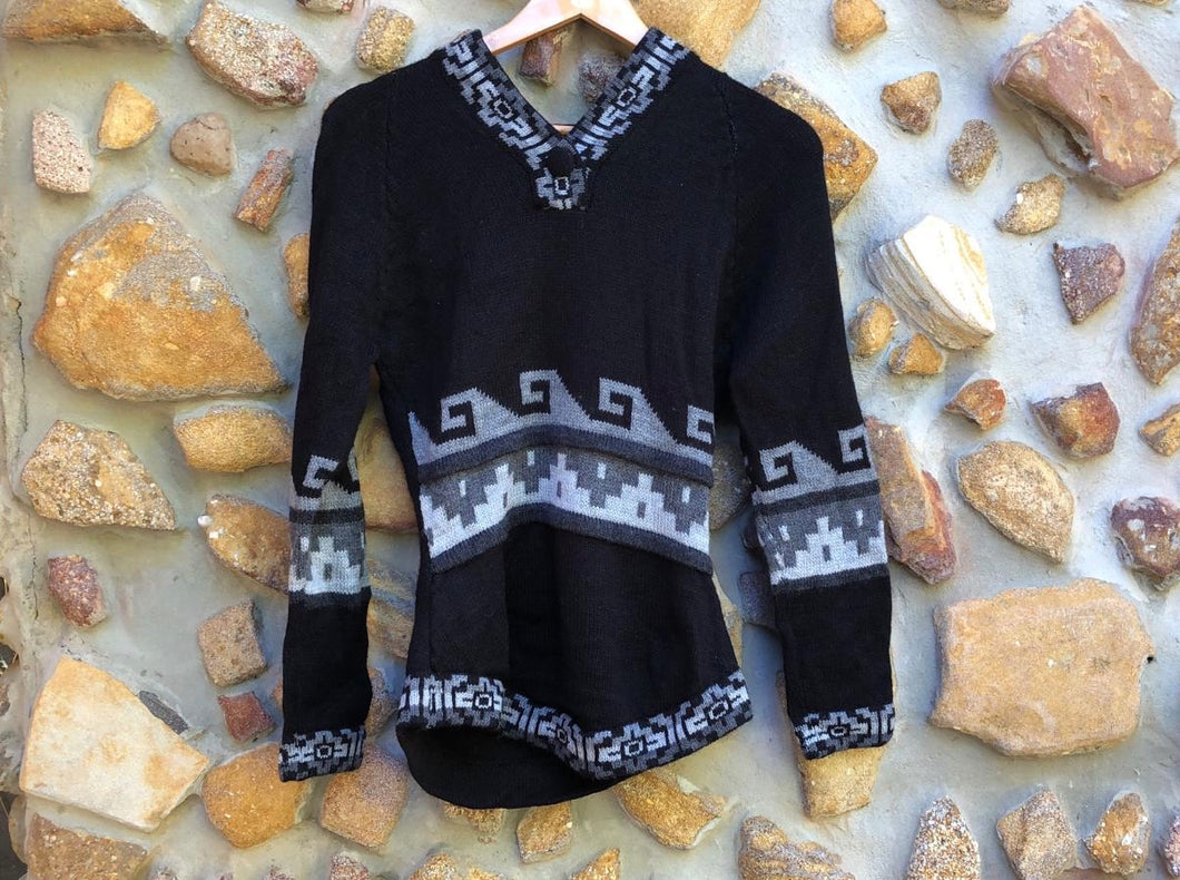 Small - Grey wave on Black  Alpaca Jumper with Hood