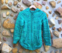 Load image into Gallery viewer, Small - Aqcua and Turquoise Geometric Alpaca Cardigan