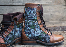 Load image into Gallery viewer, Size 35 Gypsy Boots Blue and Grey Floral