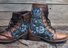 Load image into Gallery viewer, Size 35 Wanderer Boots Blue and Grey Floral