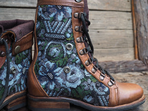 Size 35 Gypsy Boots Blue and Grey Floral