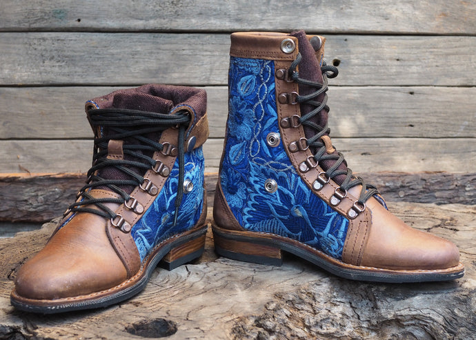 Size 36 Gypsy Boots Blue Floral