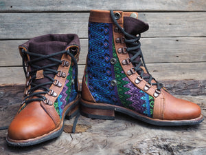Size 37 Wanderer Boots Blues and Green