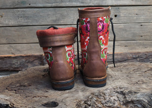 Size 37 Gypsy Boots Bright Florals