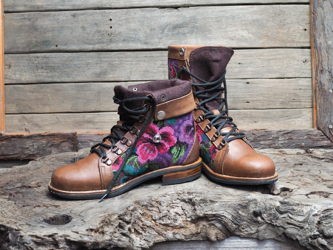 Size 38 Wanderer Boots Pink and Purple Flowers