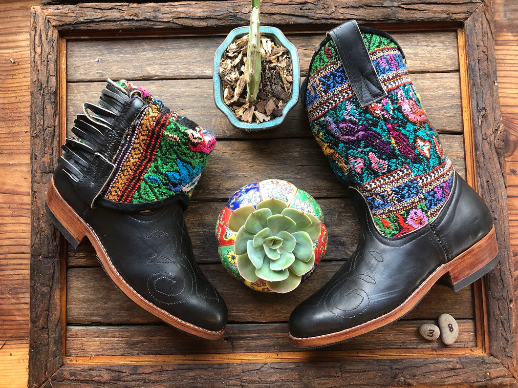 Size 38 - Convertible Cowgirl Boots - Black Leather & Mayan Birds