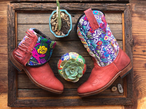 Size 40 - Convertible Cowgirl Boots - Red Leather Flower Garden