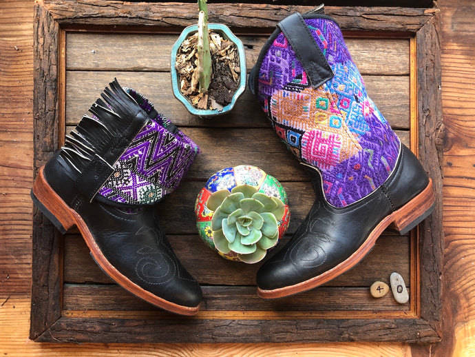 Size 40 - Convertible Cowgirl Boots - Black Leather and Purple