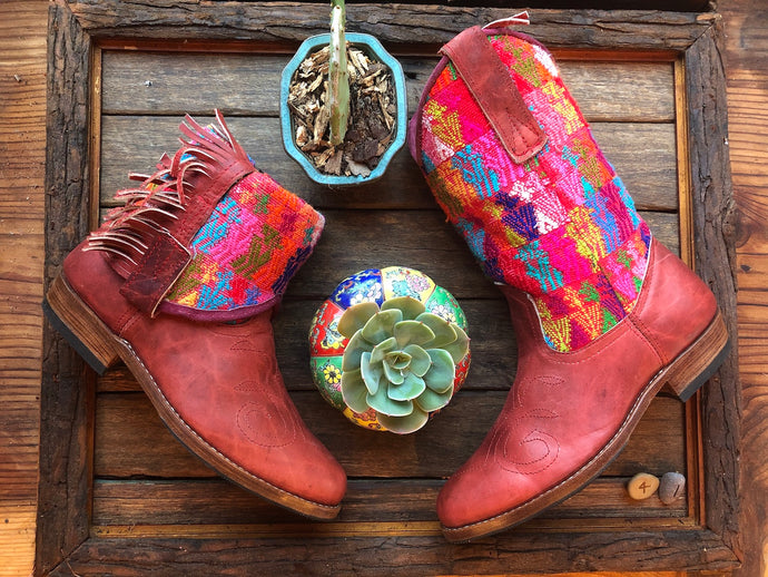Size 41 - Convertible Cowgirl Boots - Red Leather and Rainbow