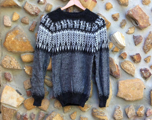 Small - Black Feather on Speckled Grey Knitted Bolivian Alpaca Jumper