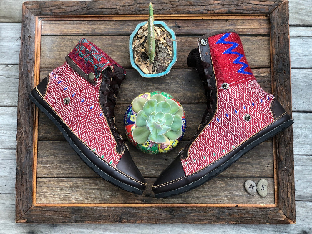 Size 45 - Fold down Desert Boots  Red with Blue Lightning
