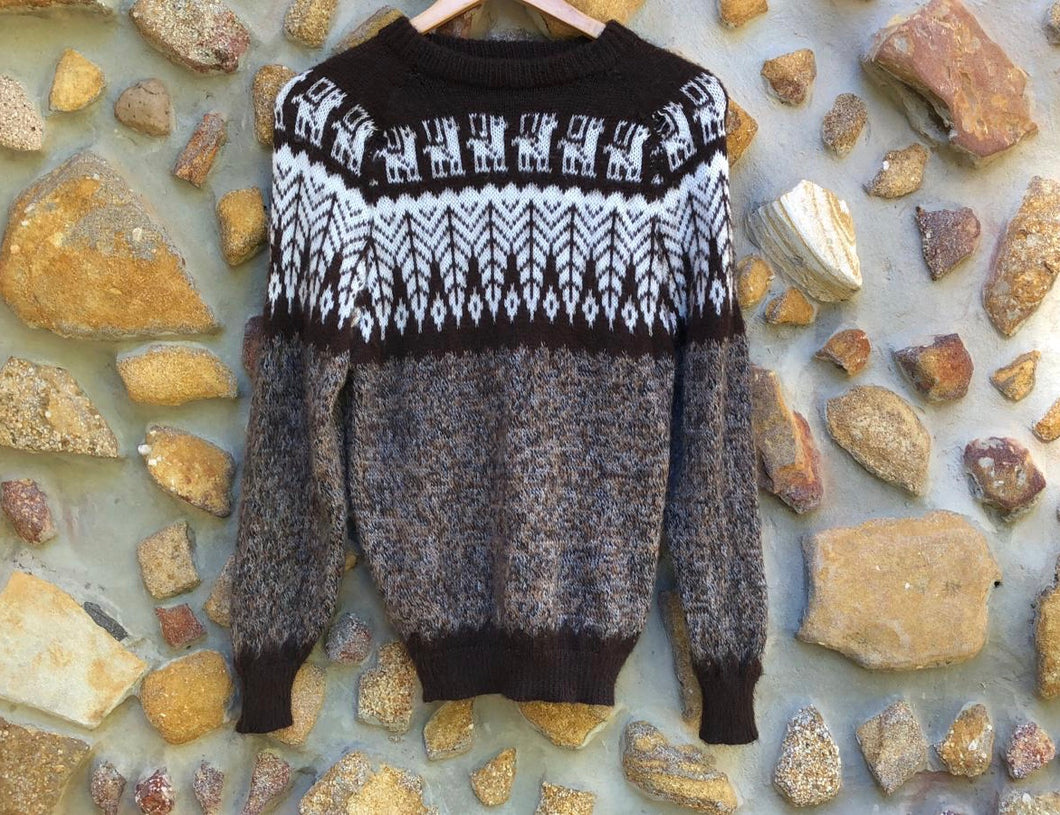 Small - Cocoa Feathers on Speckled Grey Knitted Bolivian Alpaca Jumper