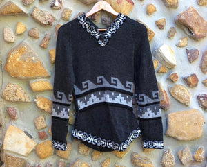 Small - Grey wave on Charcoal Alpaca Jumper with Hood