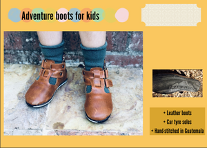 Size 9 Kids Adventure Boots Brown Leather and Mustard Stripes