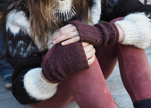 Dark Brown - Bolivian Alpaca Fingerless Gloves