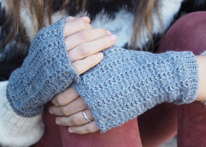 Grey - Bolivian Alpaca Fingerless Gloves