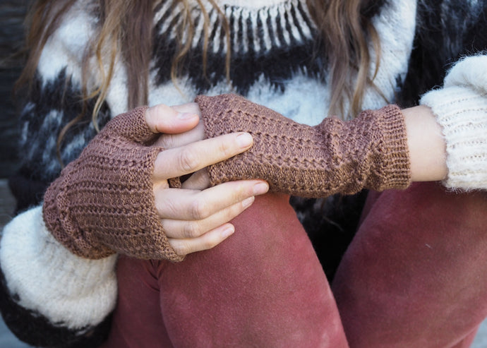 Light Brown - Bolivian Alpaca Fingerless Gloves