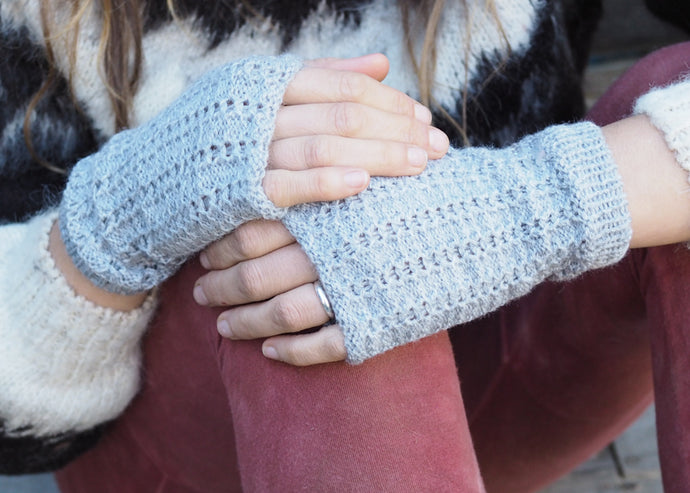 Light Grey - Bolivian Alpaca Fingerless Gloves