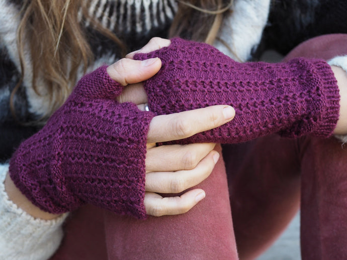 Wine - Bolivian Alpaca Fingerless Gloves