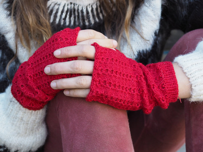 Red - Bolivian Alpaca Fingerless Gloves