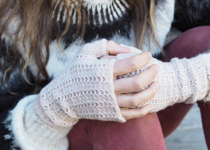 Beige - Bolivian Alpaca Fingerless Gloves