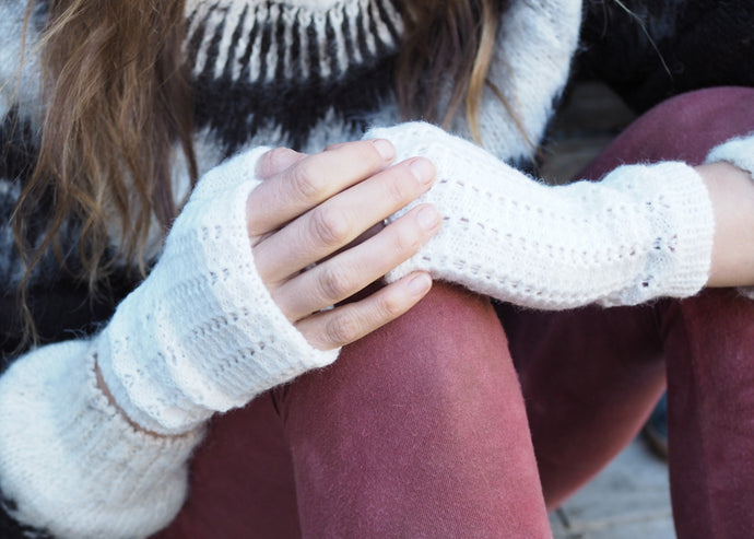 White - Bolivian Alpaca Fingerless Gloves