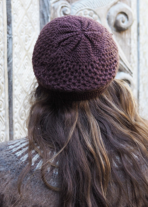 Chocolate Bolivian Alpaca Knitted Beanie