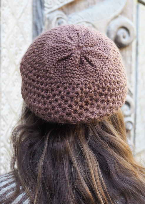 Warm Brown Charcoal Bolivian Alpaca Knitted Beanie