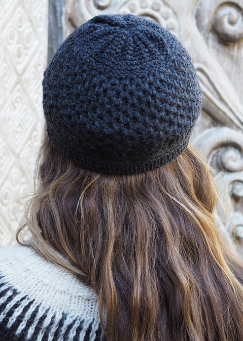 Speckled Charcoal Bolivian Alpaca Knitted Beanie