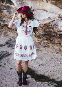 Mexican Embroidered Dress - White