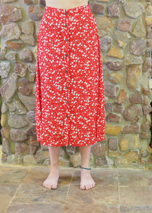 Button-up Long Skirt - Red and White
