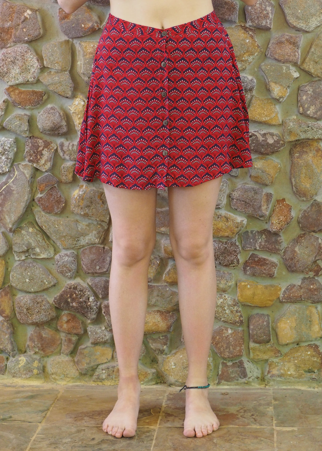 Button-up Mini Skirt - Red Fans