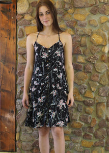 Button up Dress - White Floral on Black